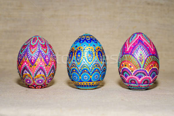 Easter eggs, hand-painted with acrylic paints, art Stock photo © AlisLuch