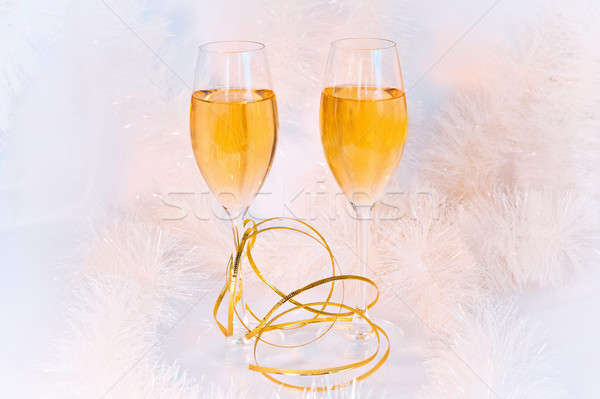 Two glasses of wine and tinsel Stock photo © AlisLuch