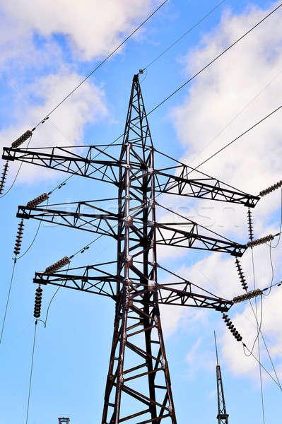 электрических полюс проводов дороги строительство синий Сток-фото © AlisLuch