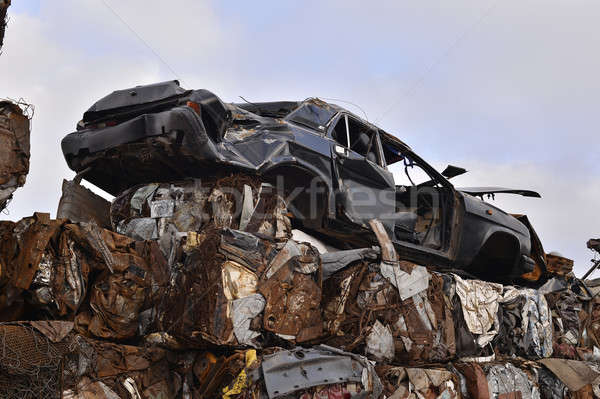 A pile of compressed cars in blocks for processing Stock photo © AlisLuch