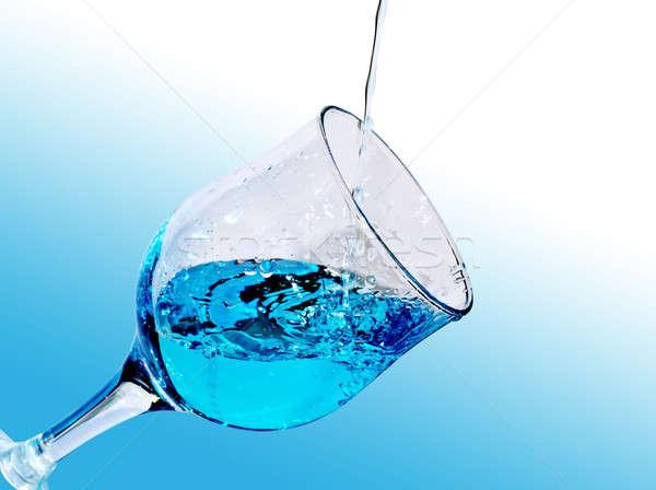 Su cam şeffaf mavi sıvı serin Stok fotoğraf © AlisLuch
