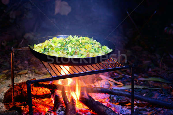 Frying pan with fried potatoes Stock photo © AlisLuch