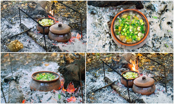 Collage - cooking in pots Stock photo © AlisLuch