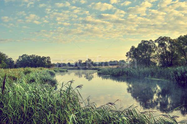 Foto zonnige zomer zonsopgang rivier hemel Stockfoto © AlisLuch