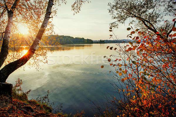 осень закат озеро отражение солнце воды Сток-фото © AlisLuch