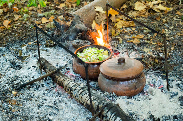 Roast in a clay pot over charcoal Stock photo © AlisLuch