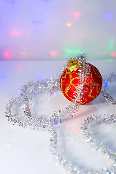 Red Christmas-tree ball and tinsel Stock photo © AlisLuch