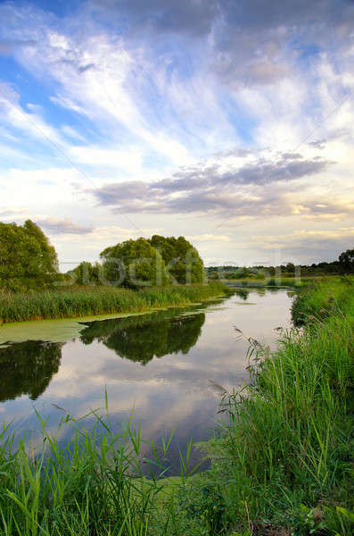 Summer landscape with the sky and clouds reflecting in the river Stock photo © AlisLuch