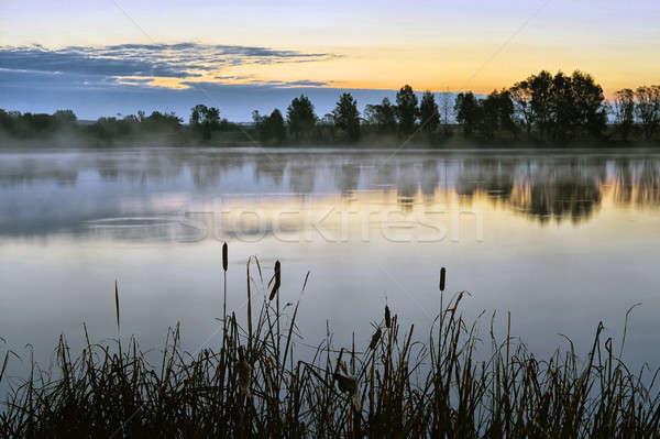 Sabah manzara gündoğumu su sis göl Stok fotoğraf © AlisLuch