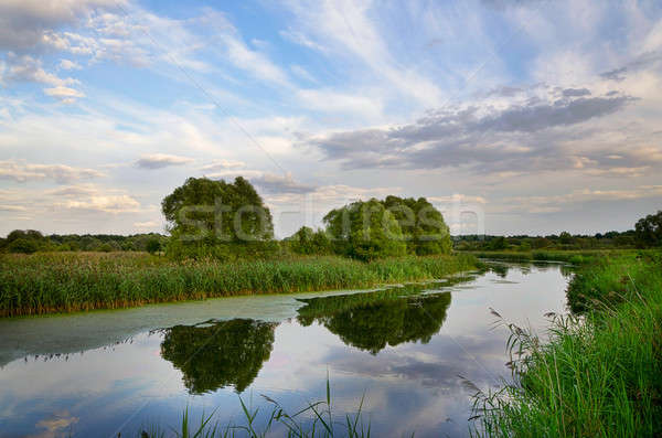 Landscape with river bend and clouds reflected in the water Stock photo © AlisLuch