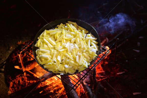 Frying chips Stock photo © AlisLuch