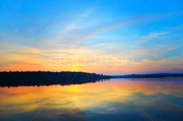закат озеро отражение воды небе пейзаж Сток-фото © AlisLuch
