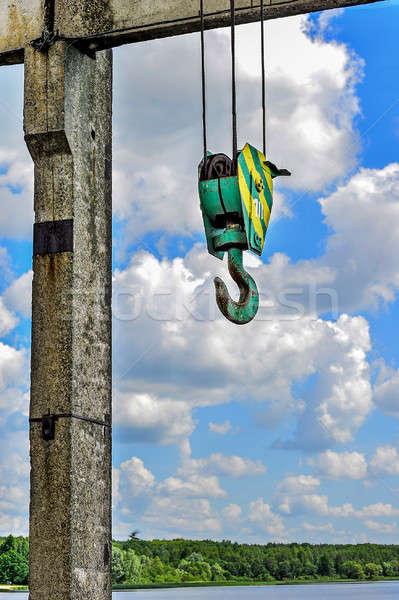 Gancho construcción grúa cuerda nubes colgante Foto stock © AlisLuch
