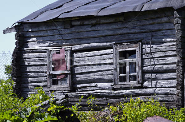 Old abandoned wooden farmhouse closeup Stock photo © AlisLuch