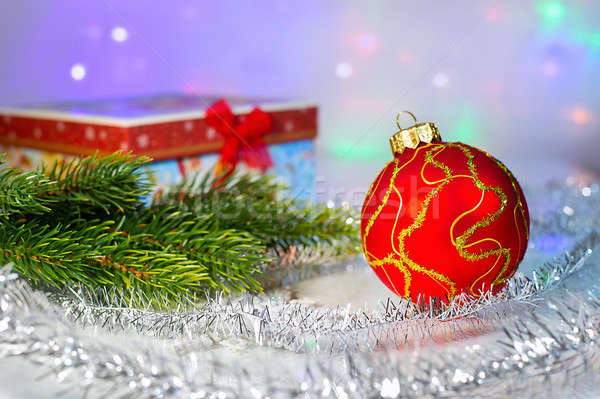 Red Christmas ball, fir branch and with gift box Stock photo © AlisLuch