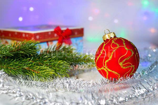 Rood christmas bal tak geschenkdoos Stockfoto © AlisLuch