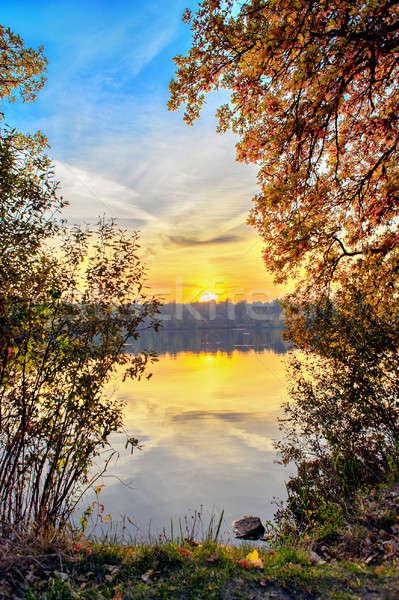 Autumn sunset on the lake Stock photo © AlisLuch