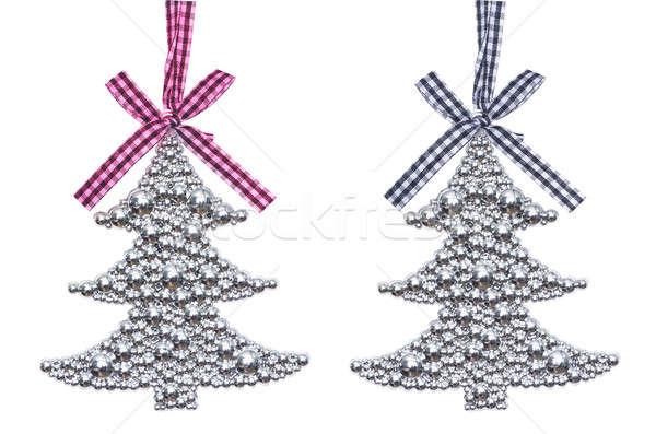 Gümüş noel ağacı süslemeleri iki dekorasyon yalıtılmış Stok fotoğraf © AlisLuch
