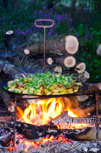 чипов жареный картофель лук огня Сток-фото © AlisLuch