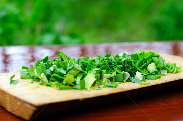 Chopped green onions on a cutting Board Stock photo © AlisLuch