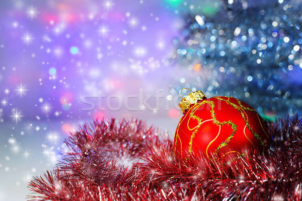 Kırmızı Noel top ağaç süslemeleri ışık Stok fotoğraf © AlisLuch
