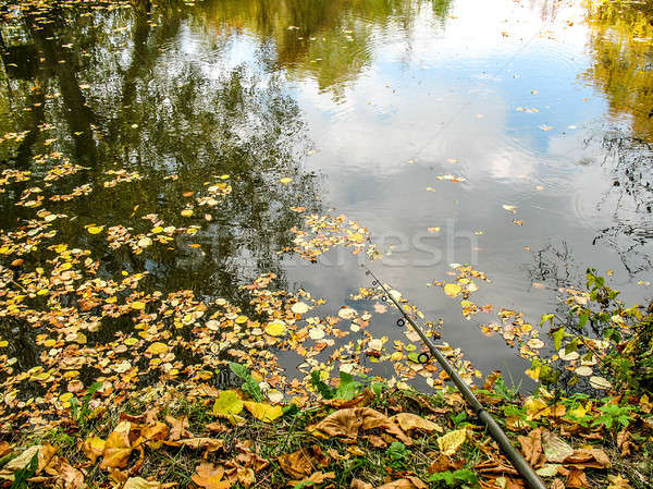 Fishing rod on the river bank, autumn leaves on the water on the autumn fishing. Stock photo © AlisLuch