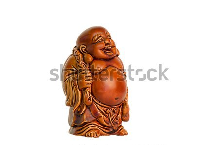 Statuette of laughing Buddha on a white background Stock photo © AlisLuch