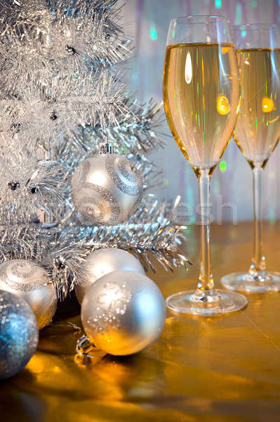 Christmas tree, toy balloons and glasses of wine Stock photo © AlisLuch