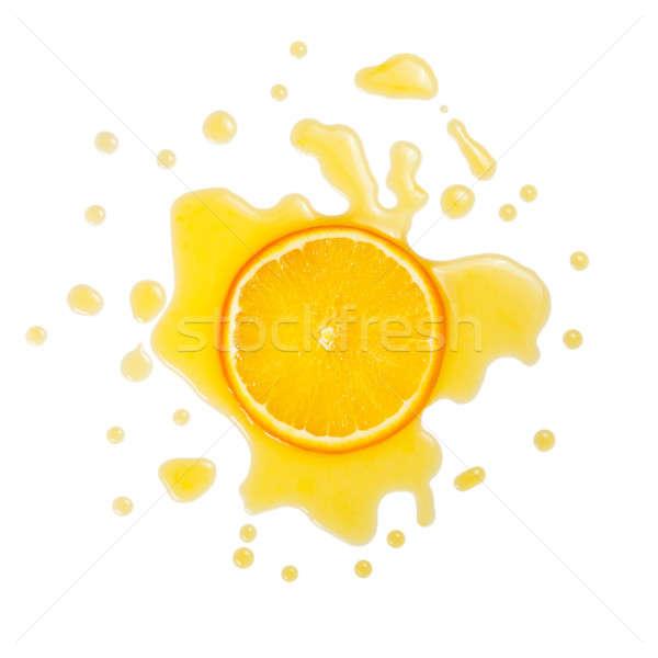 Fatia laranjas suco de laranja isolado branco projeto Foto stock © All32