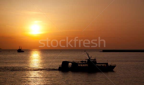 Stockfoto: Schip · zee · zonsondergang · wolken · oceaan