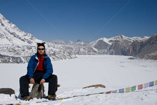 Man close by the highest lake Tilicho. Nepal. Stock photo © All32