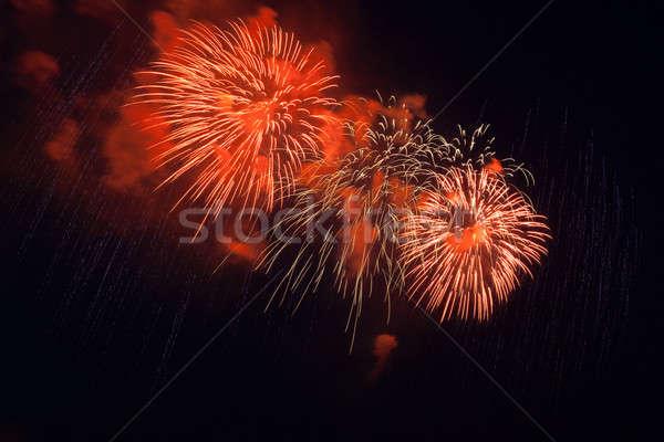 Stok fotoğraf: Havai · fişek · gece · gökyüzü · renkli · kırmızı · mutlu · ışık