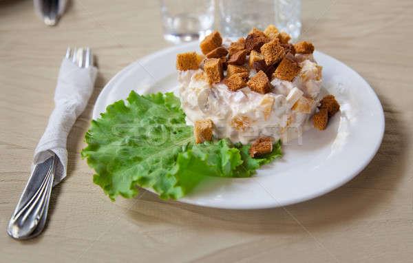 Salada prato brinde folha verde alface comida Foto stock © All32