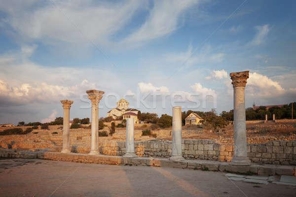 Zdjęcia stock: Katedry · budynku · krzyż · niebieski · podróży · kamień