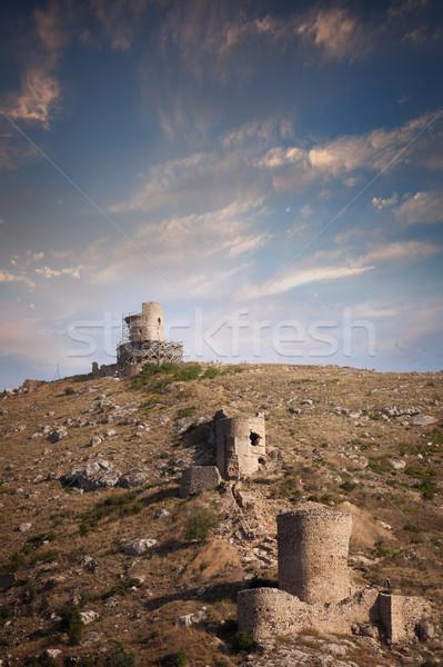 öreg város fal domboldal épület tájkép Stock fotó © All32