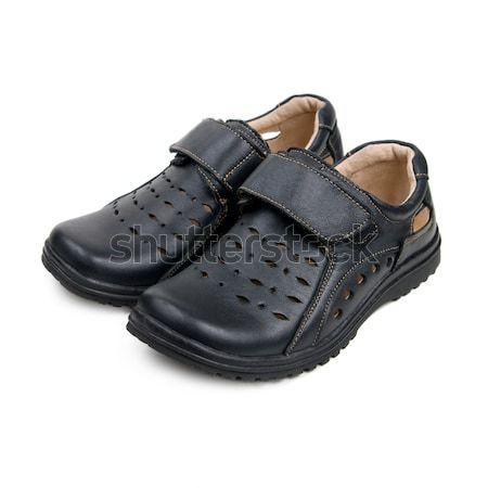 Noir chaussures isolé blanche fond garçon Photo stock © All32