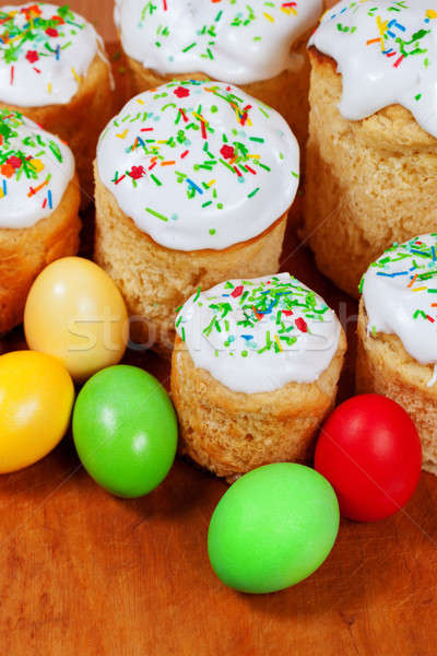 Easter cakes and colored eggs Stock photo © All32