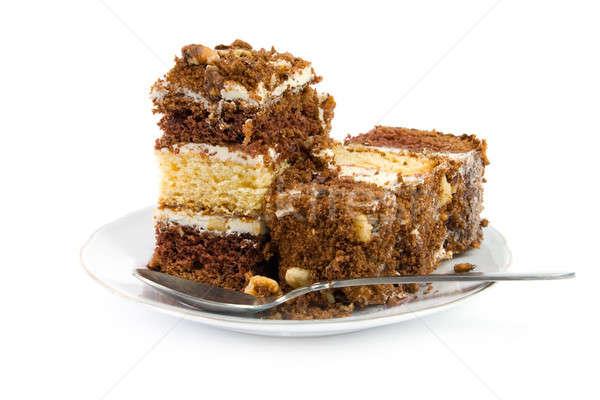 Pièce gâteau soucoupe délicieux isolé blanche Photo stock © All32