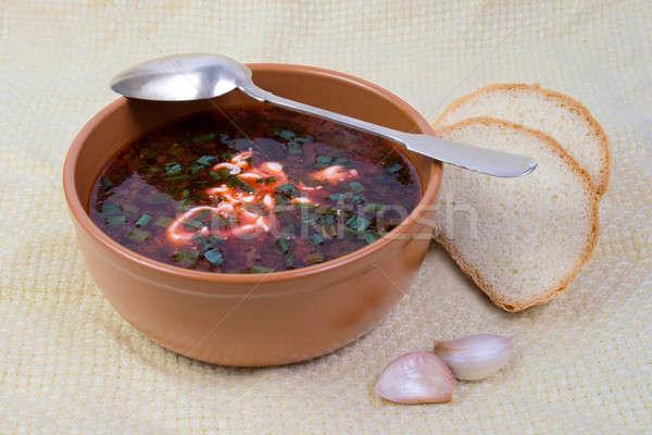 Domestique argile plat pain ail feuille Photo stock © All32