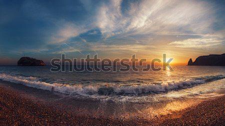 Zonsondergang golven water landschap achtergrond oceaan Stockfoto © All32