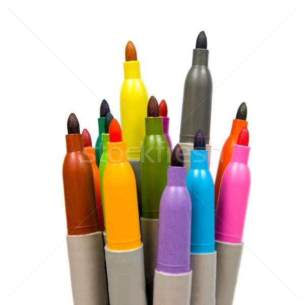 Stock photo: Multicoloured soft-tip pen. Isolated on white background.