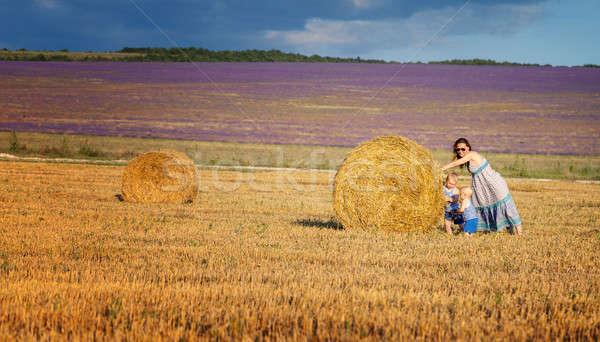 Anya gyerekek mező széna játék boldog Stock fotó © All32