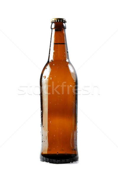 Bruin bierfles waterdruppels geïsoleerd witte partij Stockfoto © All32
