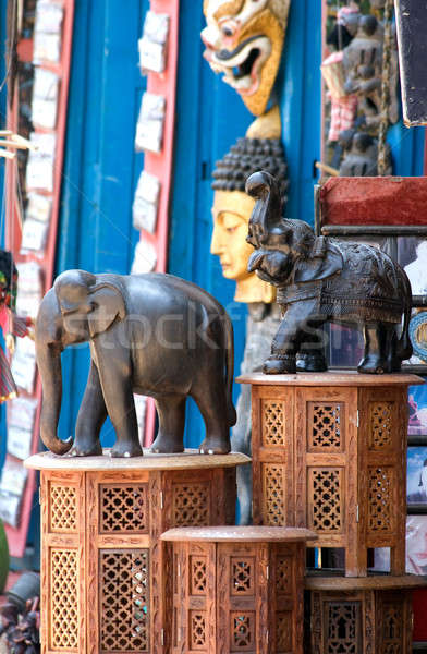 Elephants statuettes on carved supports. Stock photo © All32