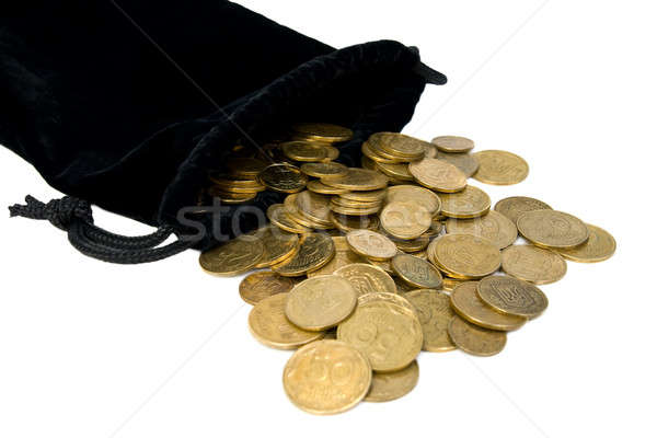 Coins spilled from the bag. Isolated on white background. Stock photo © All32