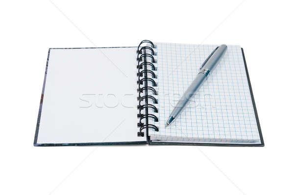 Stok fotoğraf: Açmak · notepad · kalem · yalıtılmış · beyaz · doku