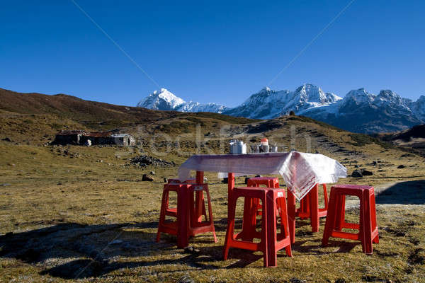 Table laid for breakfast with a view of the high  mountains Stock photo © All32