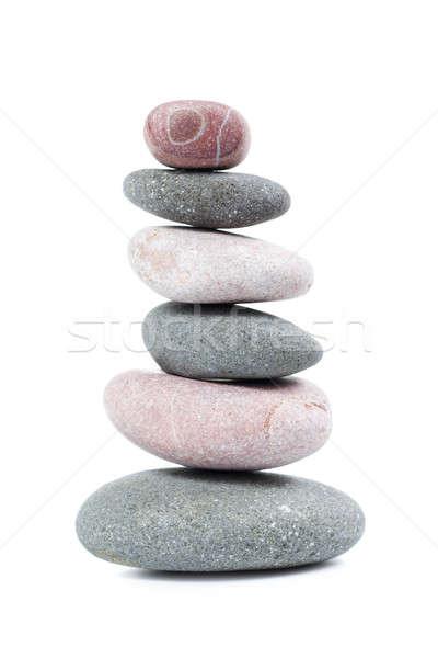 Piramis kavicsok izolált fehér kő egyensúly Stock fotó © All32
