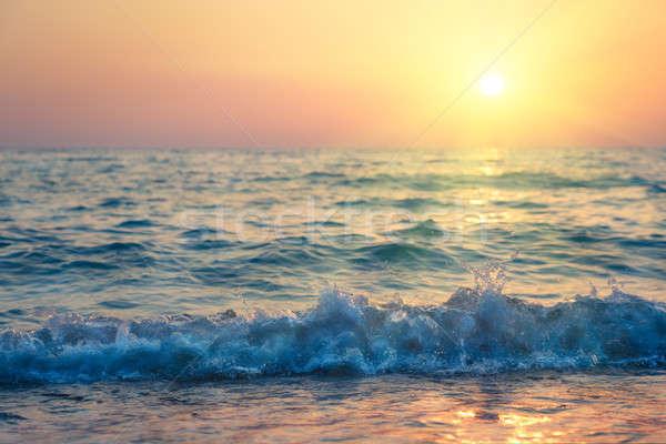 Ondas praia pôr do sol marinha paisagem mar Foto stock © All32