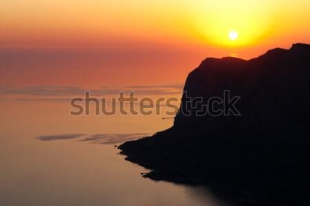 Paisagem pôr do sol montanhas mar água verão Foto stock © All32